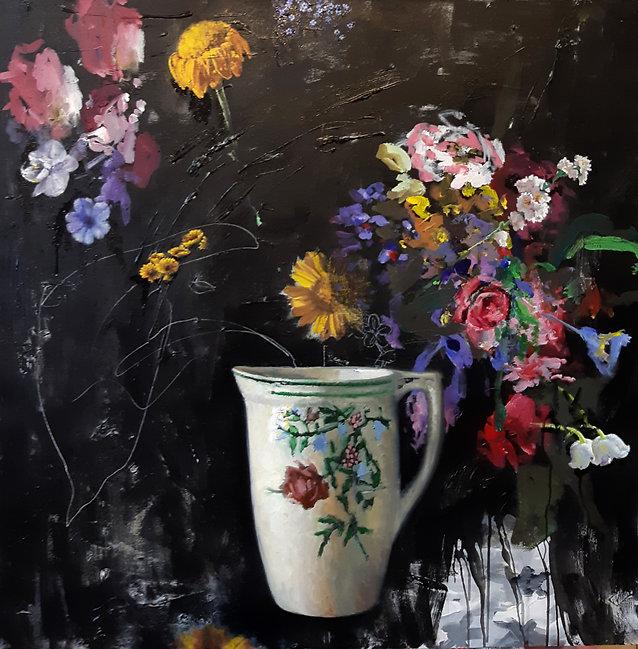 לה וידה (שחור עם פרח מנטור) שמן על בד 10