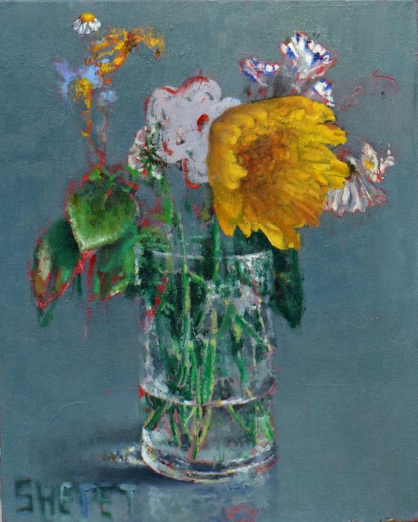 לה וידה (עם כריזנטמה ופרח ורוד) שמן על ב