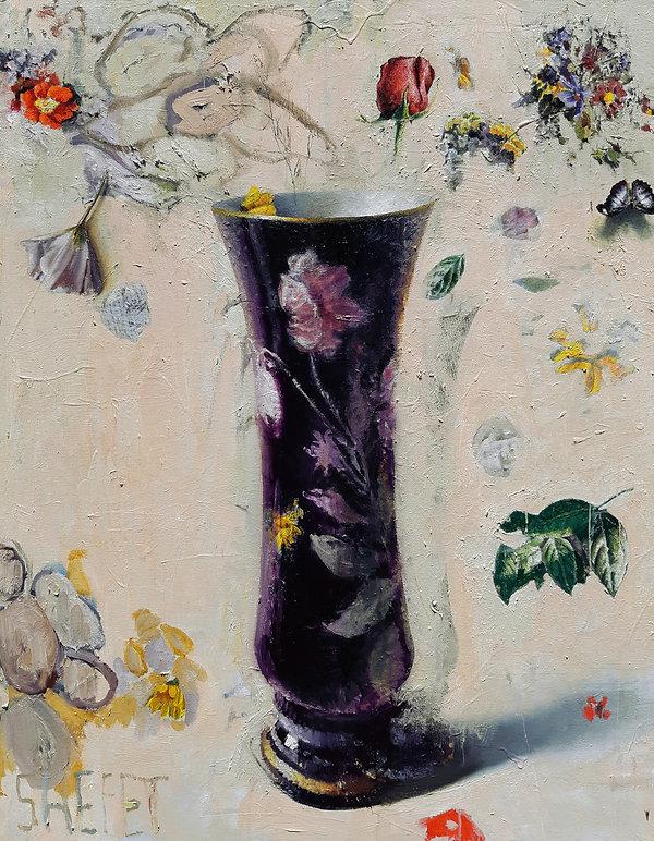 la vida (with dark vase) oil on canvas 1