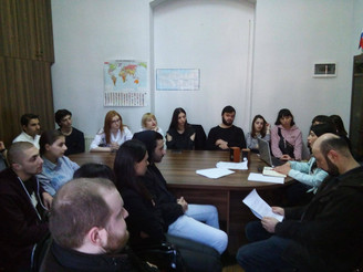 Interns of the Th. Jefferson Research Center on the working meeting at the Tbilisi State University