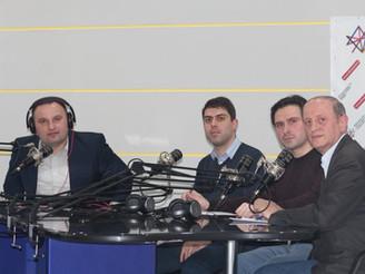 "Tornike Shurgulaia at a radio program ""Monday Talk Show"""
