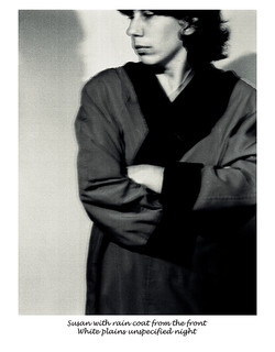 Susan with rain coat from the front