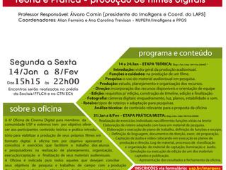 Inscrições abertas para a 6ª Edição da Oficina de Introdução ao Audiovisual do NUPEPA/ImaRgens.