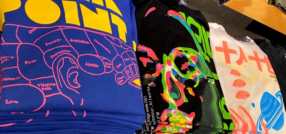 neon graphic tee table mens retail