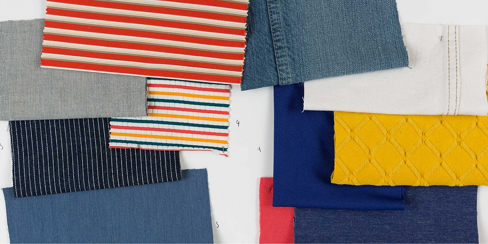 fabric swatches, blue red yellow denim white stripes