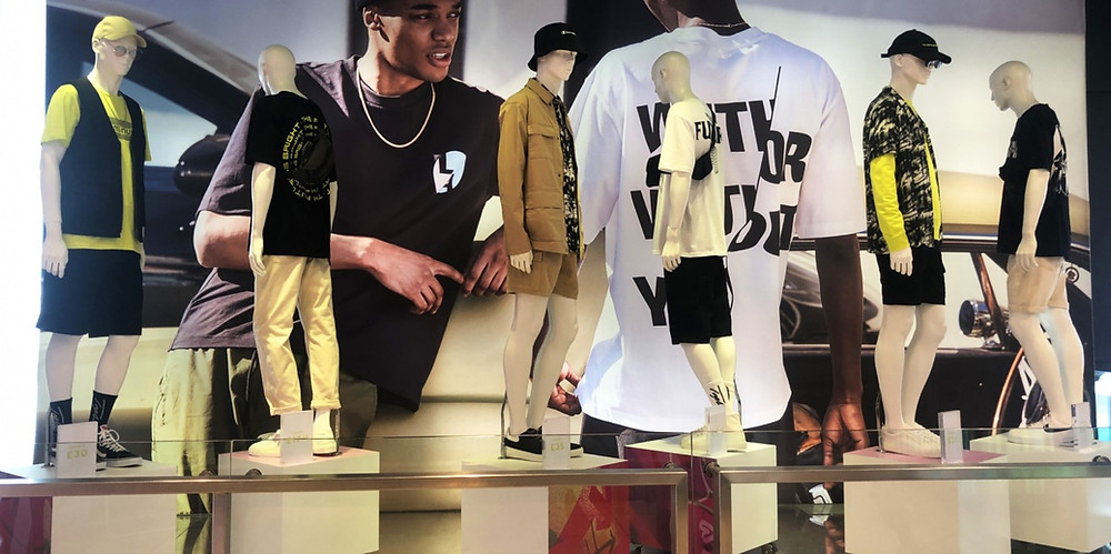 topman oxford circus marketing and visual merchandising and communication, neon yellow fashion trend with utility uniforms dressed on mannequins, campaign photography