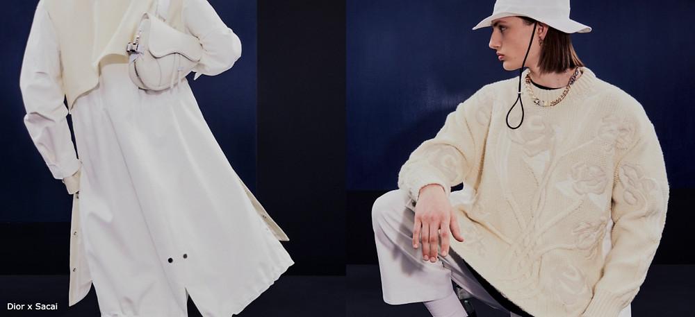 dior sacai fashion collab ecru and white menswear