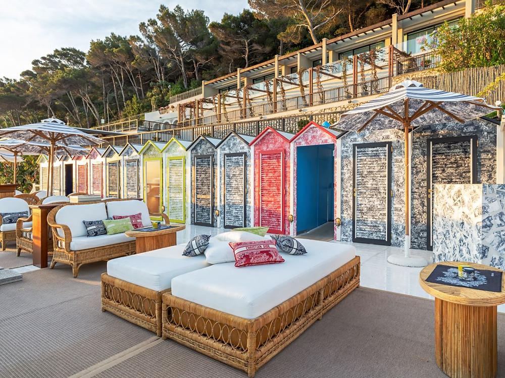beach hut house cushion sofa print parasol trees beachfront