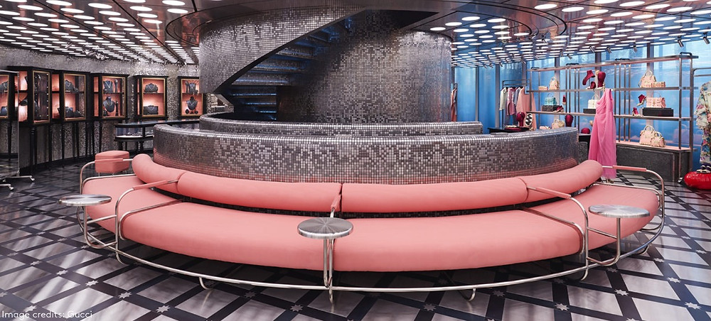 gucci gaok store launch with pink couch