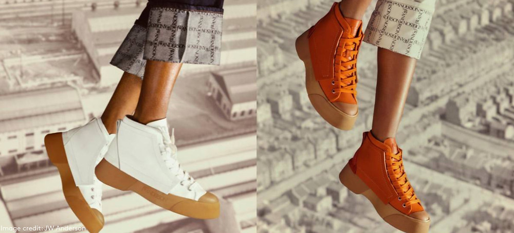 jw Anderson's debut sneaker orange and white