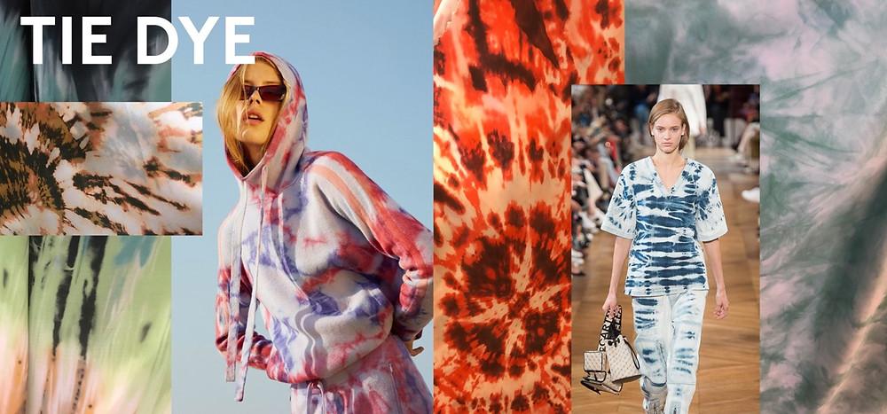 tie-dye patterns fabric hoodie runway