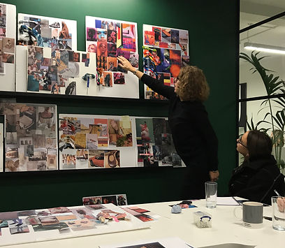 trend workshops with fashion moodboards on green wall