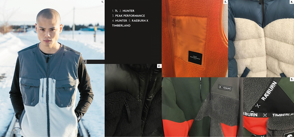 jacket required aw19/20 Borg fabrication colour block fabric block outdoor inspired