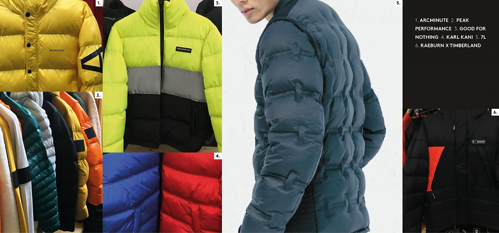 jacket required aw19/20 puffer jacket focus, outerwear bright yellow, new bonded seams arc minute raeburn