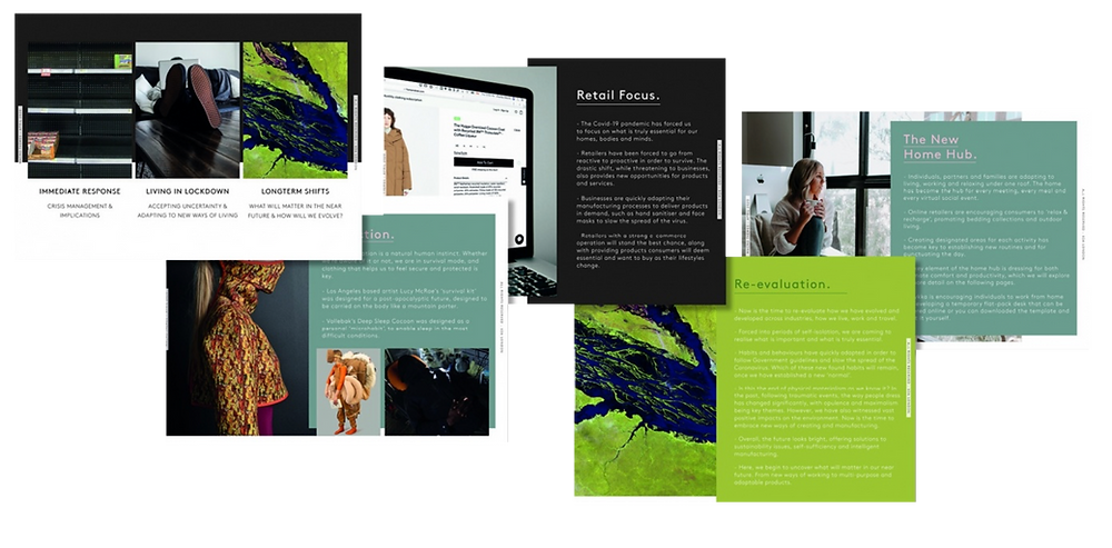 preview report in green and sage covering immediate response, living in lockdown, longterm shifts, retail focus, re-evalution, girl sitting with mug