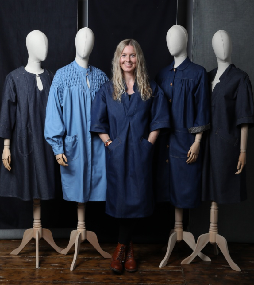 interview with smock works Louise with mannequins dressed in denim with prefabrication smocking