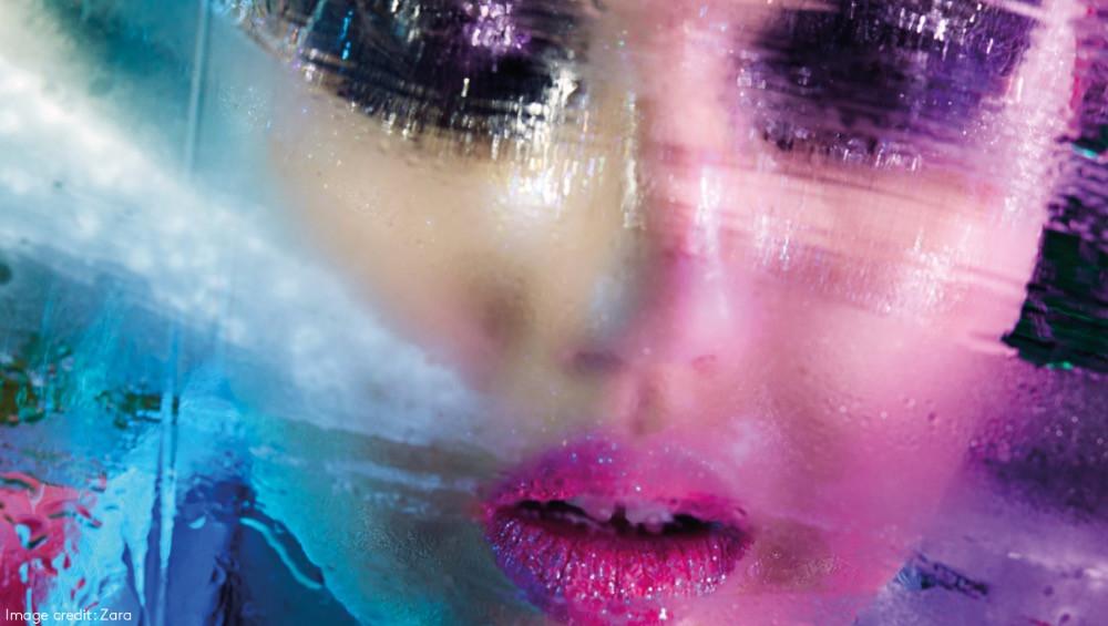 woman makeup campaign water Zara beauty