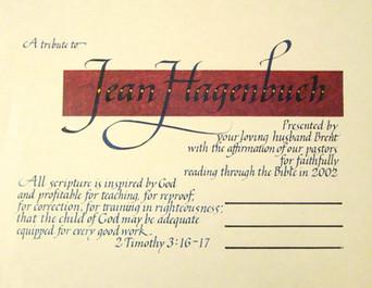 Italic calligraphy award certificate