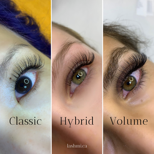 Diagram showing the different textures of classic, hybrid, and volume lash extensions