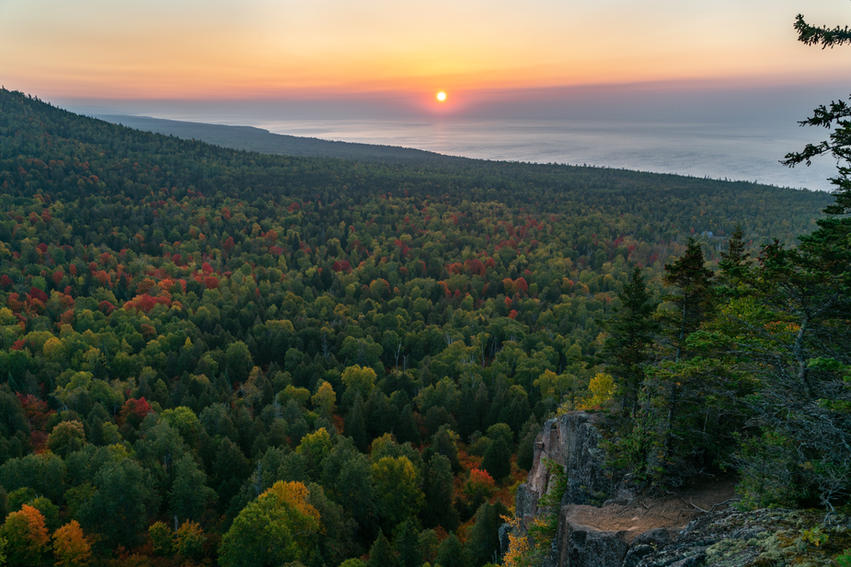 Sunrise Over Lake Superior From Mt Oberg