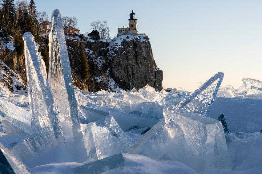 Ice Shards Framing the Split Rock Lighth