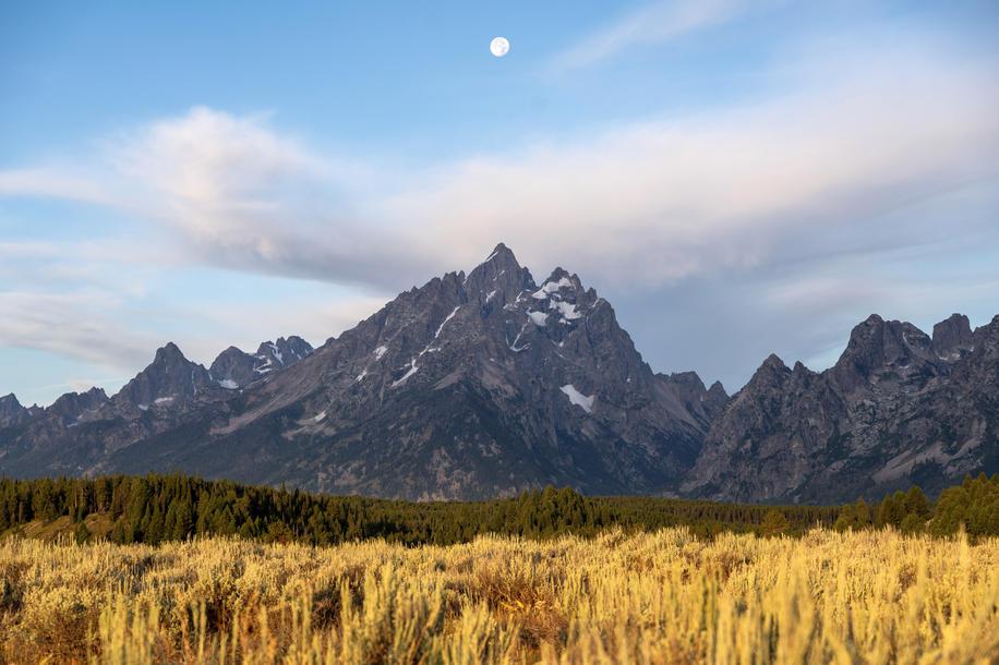 Moonset Over the Grand Teton