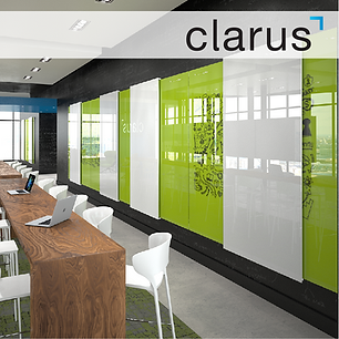 Clarus Glassboards and glass writing surfaces for corporate offices boardrooms conference rooms and private offices that come in 156 standard colors and custom sizes and color options