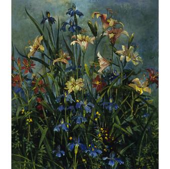 Daylilies With Blue Iris