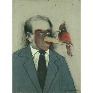 Businessman With A Bird On His Beak