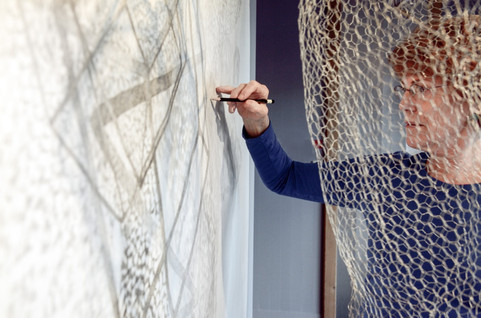 Artist Creating Cube Drawing at Mindport in Bellingham, WA
