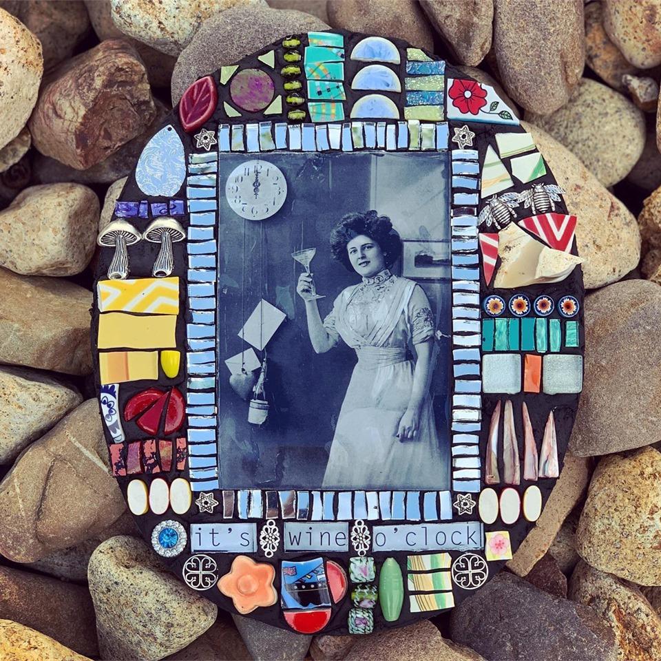 It's wine o'clock by Kim Grant Mosaics