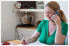 Relationship therapy specialist Helen Rice gives phone coaching to client in Poole Bournemouth counselling room