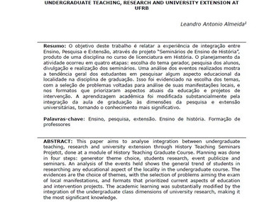 Seminários de ensino de história: experiência de integração entre ensino, pesquisa e extensão