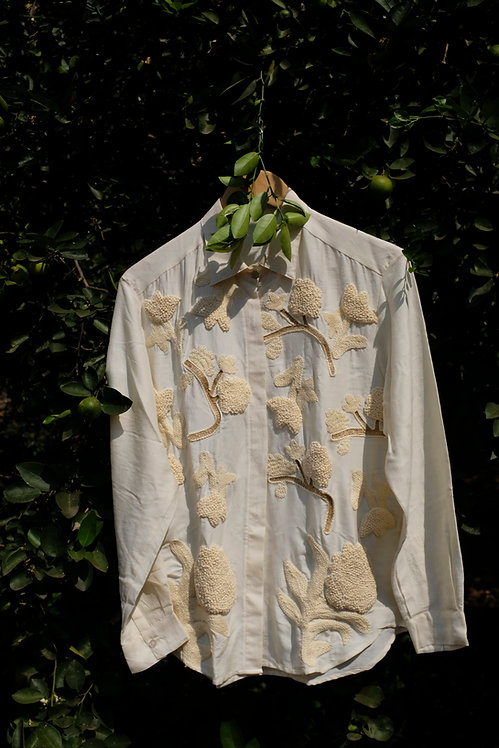 Cream all over embroidered shirt