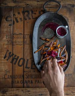 Purple potatoes fries & beet ketchup