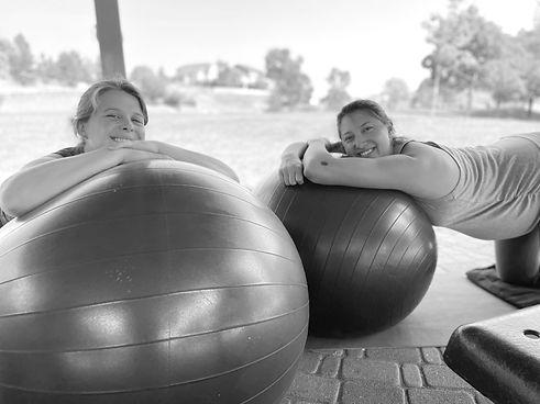 Hilbre Doula - pregnant women with yoga balls