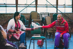 Passing the talking piece in circle: healing arts learning laboratory. photo by Z. Baisalova. Supported by Cal Shakes and California Arts-in-Corrections