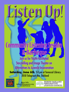 North Oakland RJ Council collaboration on alternatives to youth incarceration (graphic design Susan Quinlan)