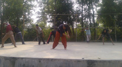 Physical Theater & Martial Arts workshop during artist residency with Ebong Amra / Tepantar Theater Village, Satkahonia West Bengal (2012)