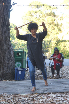 We Fight/Back: Hamida Yousefzai fight choreography/lecture demonstration. Photo by Sun Sufi