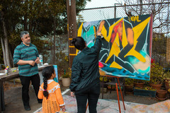 """Artistic collaborator and graffiti writer Joey Reyes' interactive piece for """"a mirror, a threshold, a song: medicines of healing from off the edges of our maps."""" photo by Z. Baisalova. Performance culmination for healing arts learning laboratory, supported by Cal Shakes and California Arts-in-Corrections"""