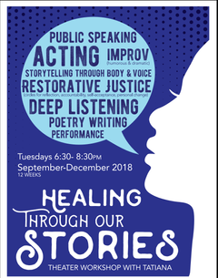 Healing-Based Theater Workshop Series for Incarcerated Women; outreach flyer via Cal Shakes. Design by Den Legaspi