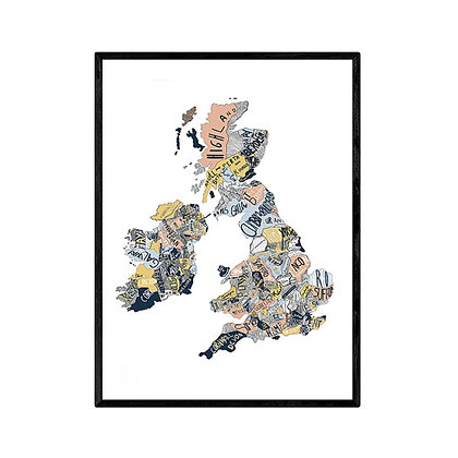 Hand Drawn Map of UK Pink, Yellow and Blue print by V & R Design