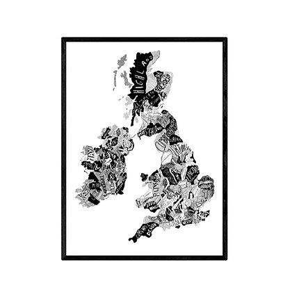 Hand Drawn Map of UK Black and White print by Ruggero Tommasini