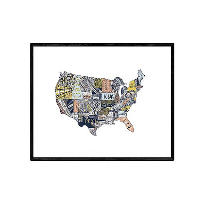 Hand Drawn Map of US Pink Blue and Yellow print