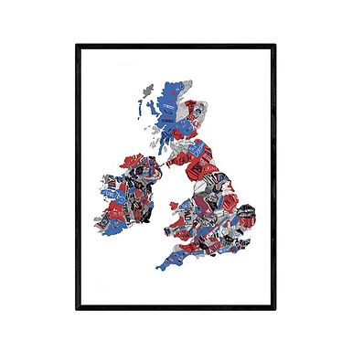 Hand Drawn Map of UK Red and Blue Print by Ruggero Tommasini