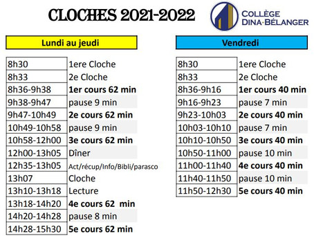 Calendrier scolaire & horaire