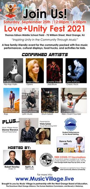 "Love + Unity Fest 2021 "" Inspiring Unity in the Community Through Music"""