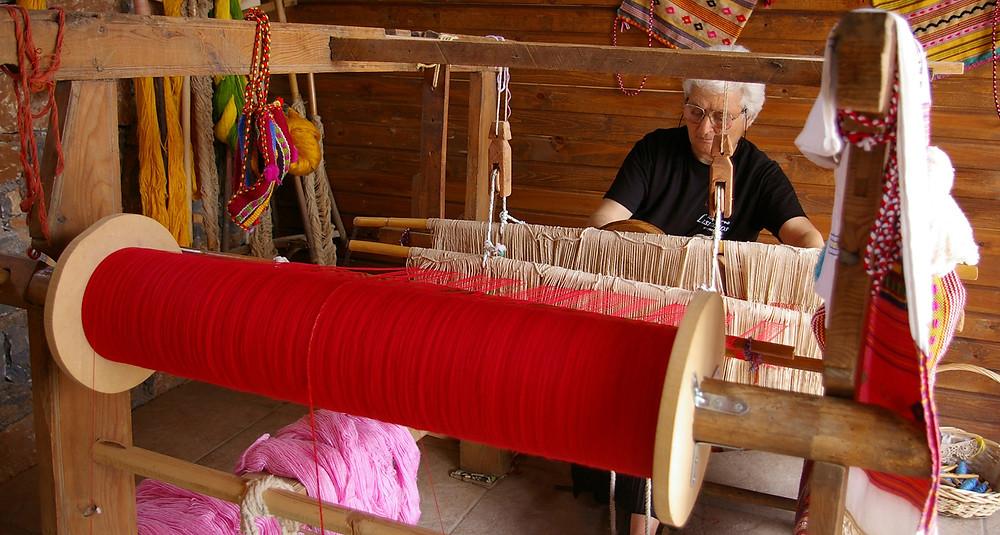 Hand-woven textiles in Crete