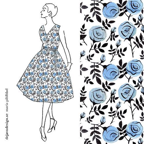 Signe Dress- Blue Rose print